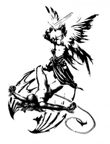 A tattoo concept of Archangel Michael slaying the demon.