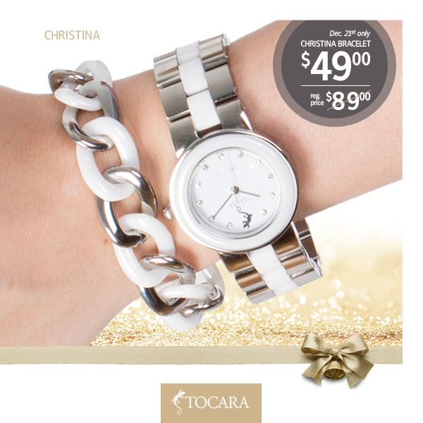 On the First Day of Christmas, Tocara gave to me...  December 21st - Christina Bracelet for only $49 (reg. price $89) | Ceramic Stainless Steel Removable link (0.75') 7.25'-8'.  To purchase ask your consultant or click the image.