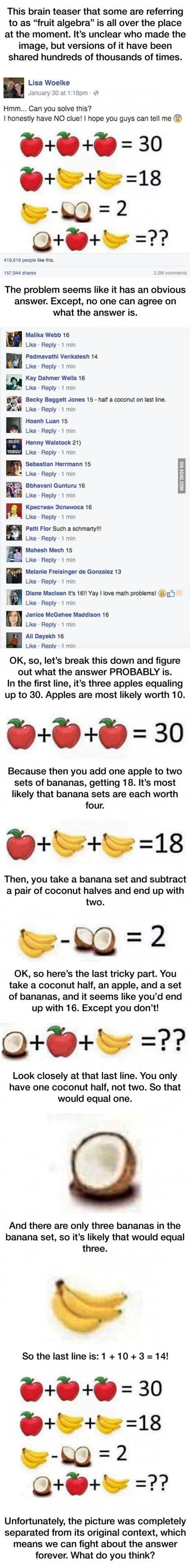 Fruit Algebra Is Driving People Crazy!