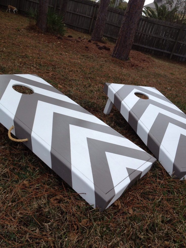 chevron striped corn hole game 20000 via etsy - Cornhole Design Ideas