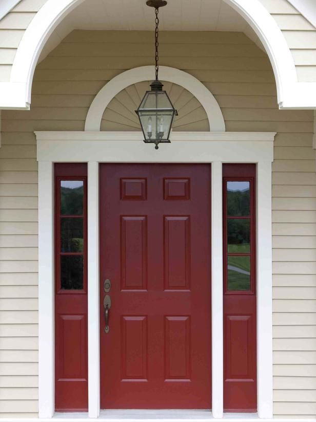 Behr's Morocco Red paint for front door; love the almond color for house siding with white/vanilla trim