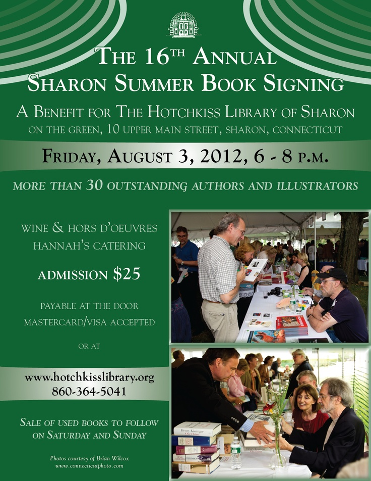 I'll be at the 16th Annual Sharon Summer Book Signing. August 3rd, 2012