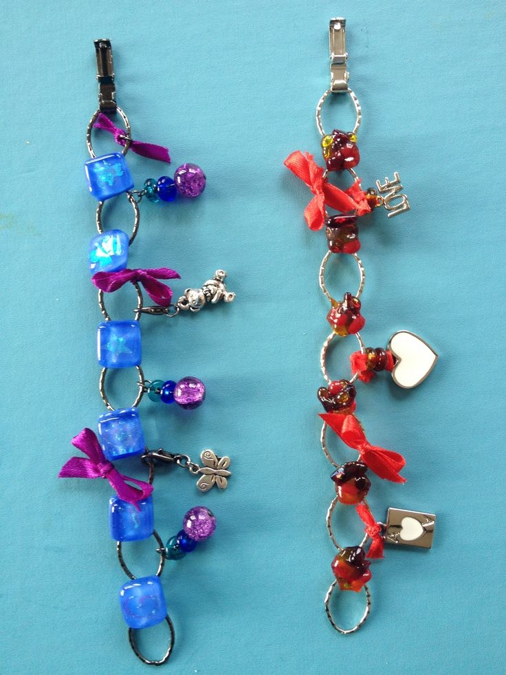 Mixed media bracelet. Fused glass, ribbon and charms