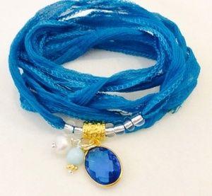 "Seiden Armband ""Blue"""