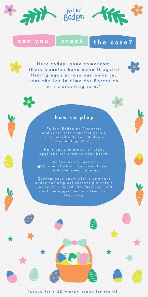 Find and pin our hidden eggs to win a cracking sum. #Boden #Easter #Miniboden