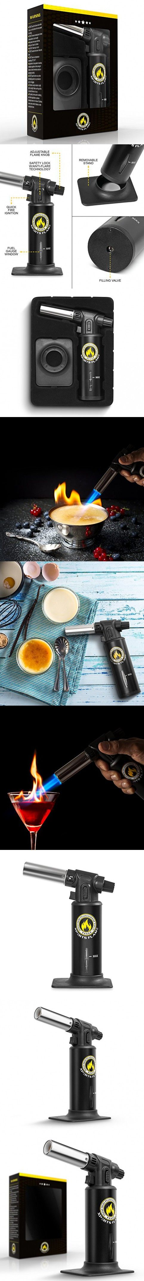 Kitchen Torch By Xpert's Flame | Best Culinary Torch For Home & Pro Chefs | Blow Torch For Crème Brulee | Safety Lock & Adjustable Flame | Free Bonus: Stand & BBQ Recipe E-Book|