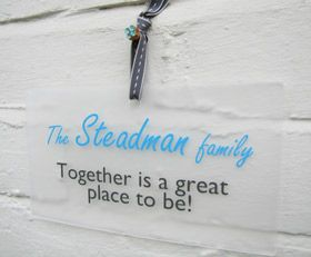 personalised gift wall plaque sign together is a great place to be - Another Gorgeous Day.  Family sign.