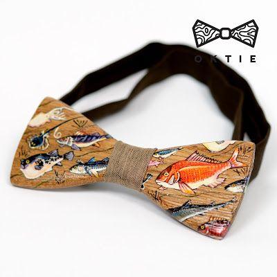 "OKTIE - wooden accessories: OKTIE Wood Bow Tie ART Series ""Fish"""