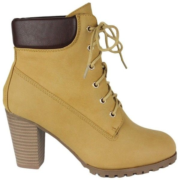 Womens Stacked Heel Ankle Bootie Camel ($33) ❤ liked on Polyvore featuring shoes, boots, ankle booties, short boots, camel booties, rugged boots, lug sole booties and bootie boots