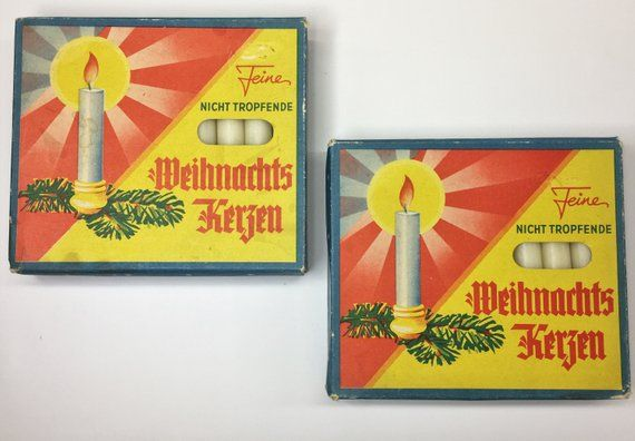 2 Boxes Of Vintage German Weihnachtskerzen Germany White Christmas