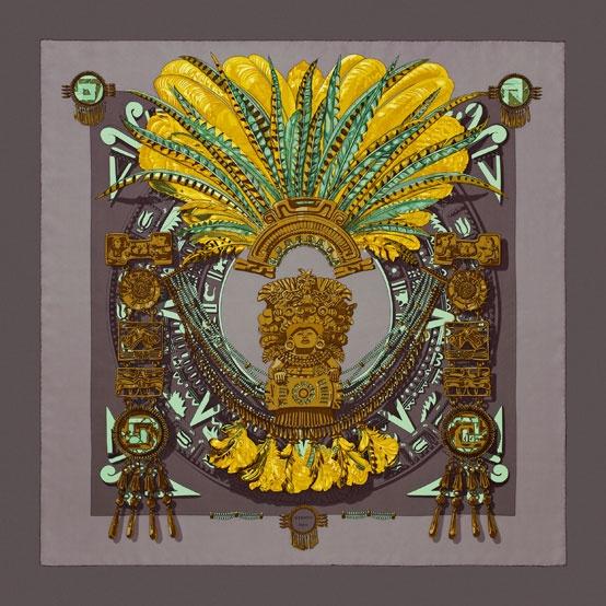 Carré twill de soie 90 cm MEXIQUE. #Hermes #Silk #Brown