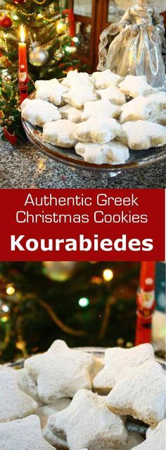 Kourabiedes are Greek cookies, similar to shortbread cookies, coated with icing sugar, that are traditionally prepared at Christmas.