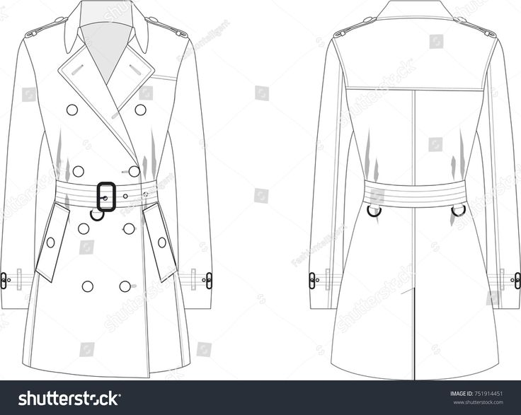 Technical Drawing of Woman's Trenchcoat #fashionflats #illustration
