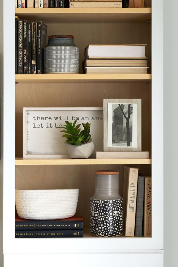 #Shelfie! While there's no secret formula for arranging a bookshelf, a tip is to display elements horizontally and vertically for variety. This will make any shelf Pin-spiring!