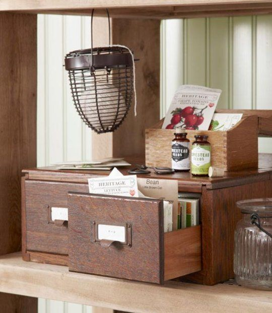 Garden Inspiration:  Store Seed Packets Inside a Card Catalog   Country Living