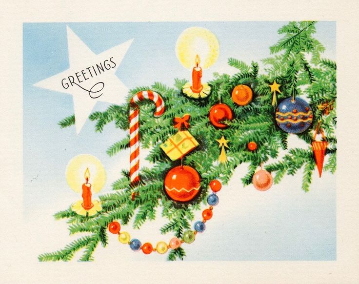 Vintage Christmas Card. Season's Greetings. Christmas Bough. Retro Ornaments.