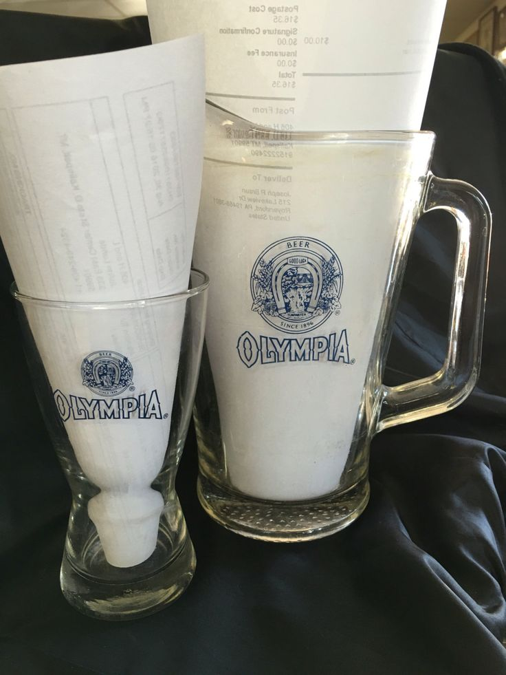 Collectible, Olympia Beer, Rare, Beer pitcher, beer glass,  rare with horse shoe above name, Industrial, Brew master, lager, brewski. by 406HLvintageupcycle on Etsy