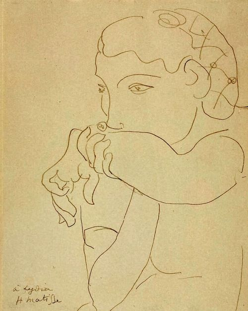 """Henri Matisse: à Lydia (1939) Didn't know women made """"fart"""" sounds on their arms back then...."""