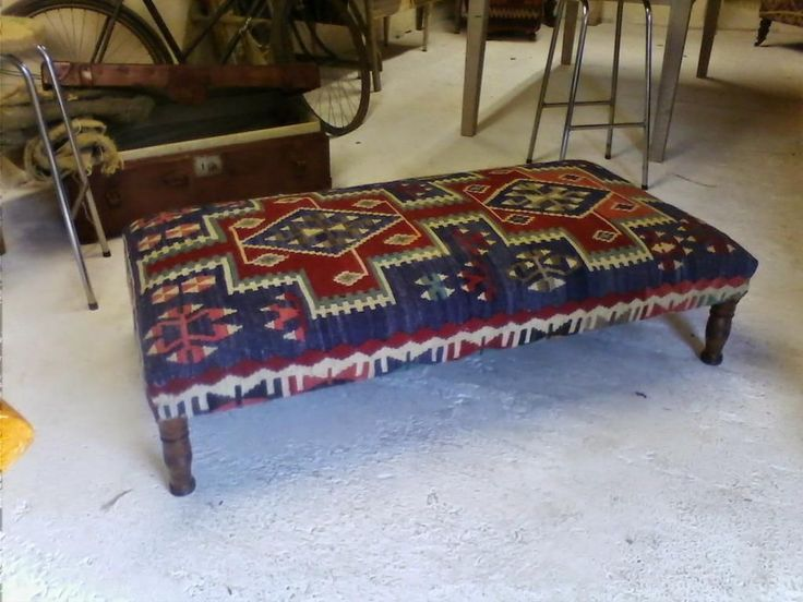Handmade Turkish Rectangular Shape Kilim Ottoman With Blue Color And Orange  Combine Color Unique Kilim Ottoman Coffee Table Furniture Table, ...