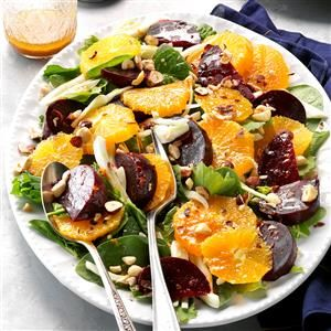 Winter Beet Salad Recipe -To save a little time, our Test Kitchen home economists recommend using packaged salad greens in this original recipe. The simple dressing is easy to assemble.