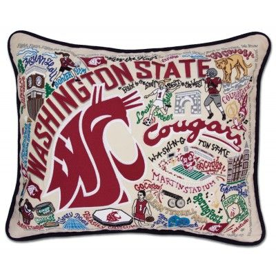 WASHINGTON STATE UNIVERSITY COLLEGIATE EMBROIDERED PILLOW