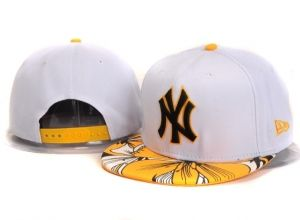 Casquette NY New York Yankees MLB Snapback Blanc Jaune : Casquette Pas Cher