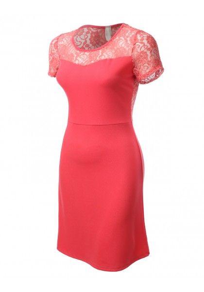 Lace Shoulder/Back Trim Dress - New Arrival