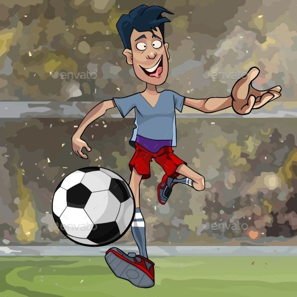 Cartoon Male Soccer Player Running With A Ball In 2020 Cartoon Man Soccer Players Cartoon