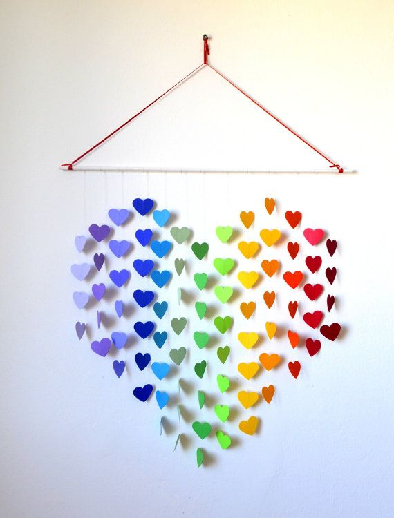 Probably make this for mums birthday but paint the hanger pink and do the hearts all different pink shades to match her room