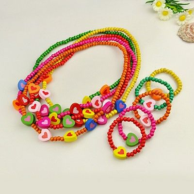Colorful Wood Jewelry Sets for Kids: Bracelets and Necklaces as Children's Day Gifts