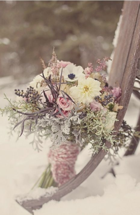 dusty rose winter bouquet