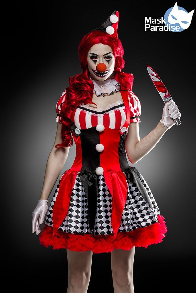 6 Tlg Horror Clown Komplettset Hallowen Damen Kostüm Scary Karneval Fasching S-L