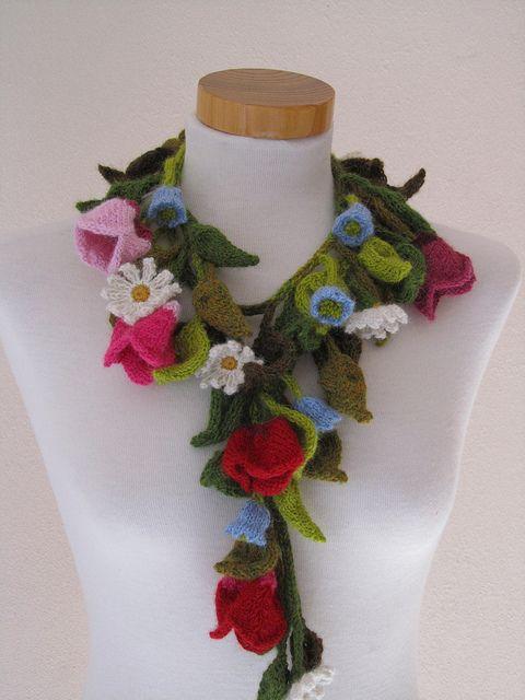 knit flower scarf