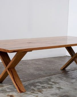 YARD Furniture makers, Melbourne Australia. Seen here is the Tallulah Table made from recycled Yellow Stringybark.