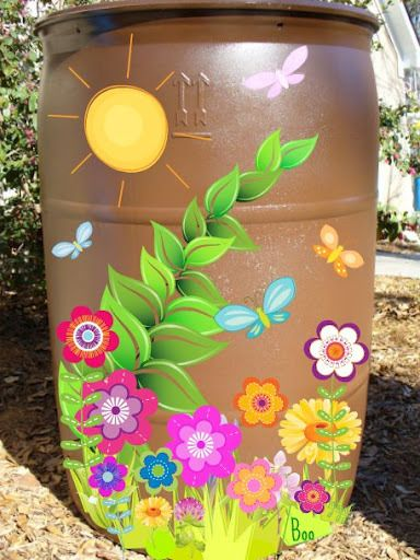 Use exterior paint for plastics & decorate those RAIN BARRELS with flowers or whimsy!  People will see them in a whole new light.