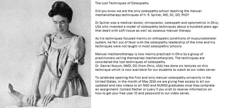 Have a look at the image of Lost Techniques of Osteopathy at National University of Medical Science Spain. As Dr Shahin Pourgol's techniques focused mainly on orthopedic conditions of musculoskeletal system.