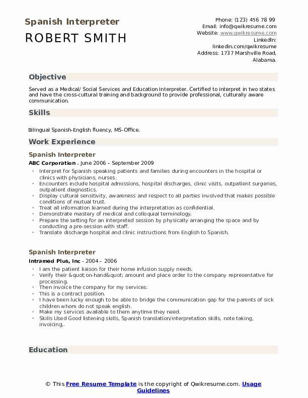 Medical Interpreter Resume Sample Elegant Spanish Interpreter Resume Samples Resume Examples Human Resources Resume Security Resume