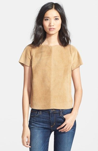 Free shipping and returns on Sam Edelman Wrap Back Faux Suede Tee at Nordstrom.com. Tonal topstitching and a lovely wrap at the back enhance the simple elegance of a short-sleeve tee crafted from supple faux suede.