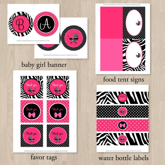Hot Pink Zebra Baby Shower Party Package DIY by printablecandee https://www.etsy.com/listing/167372469/hot-pink-zebra-baby-shower-party-package?ref=market