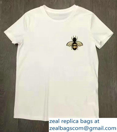 Gucci White Cotton Bee Embroidered T-shirt 2017