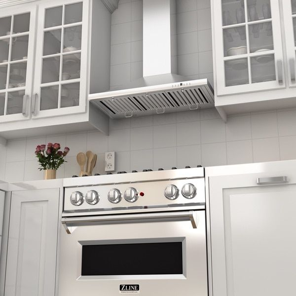 ZLINE 36-inch 760 CFM Wall Mount Range Hood in Stainless Steel with Crown Molding (KBCRN-36)