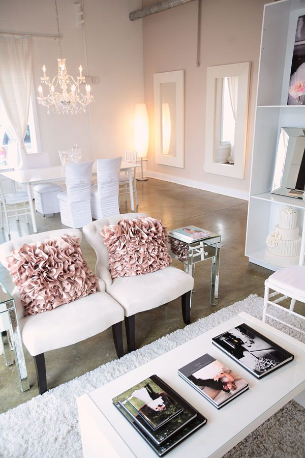 .Love this idea for a salon waiting area and the full length white mirrors for styling stations.