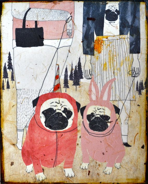Pug Love- mixed media print on wood (Etsy Shop: retrowhale)