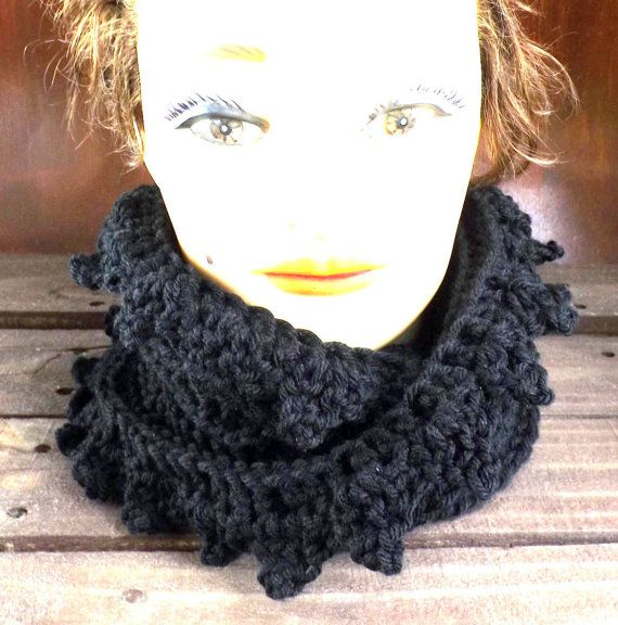 Click #strawberrycouture Crochet Scarf Crochet Infinity Scarf Crochet Cowl Scarf Lauren Circle Scarf Spring Scarf Winter Scarf Black Scarf by strawberrycouture