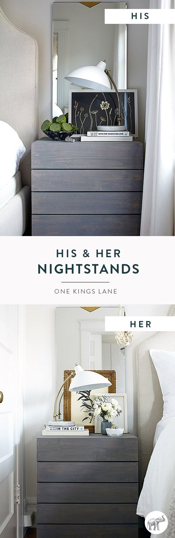 Learn how to style a gender-neutral nightstand for him and her with these versatile and inspirational ideas from our bedroom makeover with Caitlin Flemming.