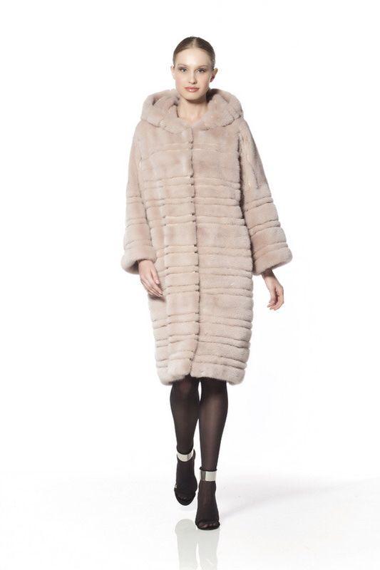 Braschi Dyed Mink Fur Hooded Coat