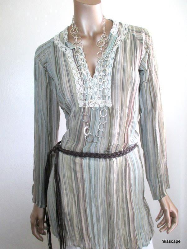 Vtg LAUNDRY Shelli Segal Crinkle Tunic ~ XS Striped Print FREE Belt Crochet Trim #LaundryShelliSegal #Tunic