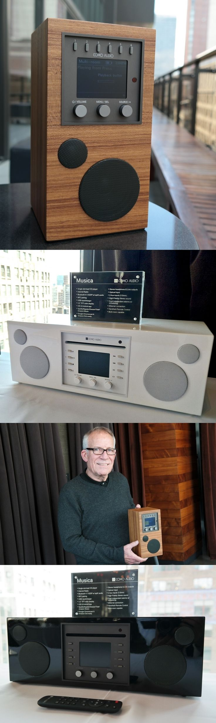Como Audio hits the road (or your den) with the new Amico, a battery-powered high-fidelity, portable multi-room music system with FM, Internet radio, Wi-Fi and Bluetooth connectivity and built-in music streaming services. CEO Tom DeVesto said the $399 Amico runs 8 hours on a charge and can be controlled with an app, a remote or neither: It can be used with its knobs alone. The new @comoaudio Musica ($599-$649) basically adds a CD player to the dual-speaker Duetto introduced last year…