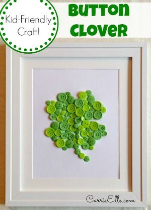 St. Patricks Day Button Clover Craft | Carrie Elle