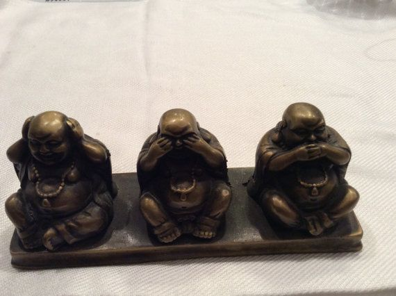 Bronze Buddha statue hear no evil see no evil speak by CooperSeal